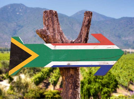 Zuid-Afikaanse vlag in vorm van pijl